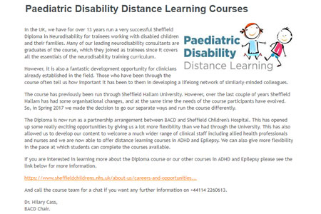 Paediatric Disability Distance Learning Courses